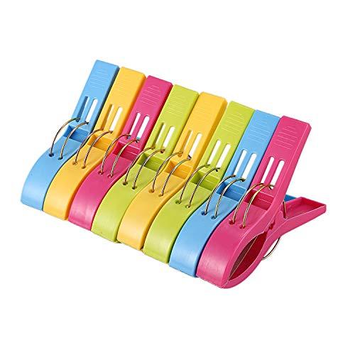 JVSISM - Juego de 8 pinzas de plástico para toalla de playa (8 unidades), color brillante