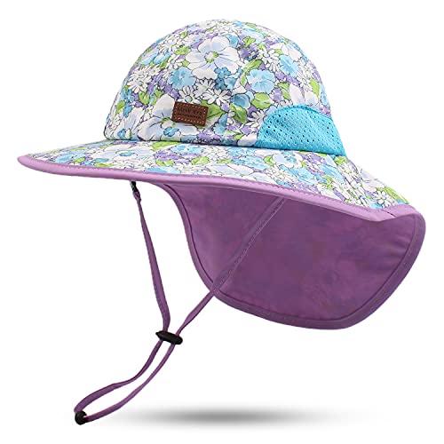 Pesaat Baby Sonnenhut Mädchen Mit UV-Schutz Sonnenmütze Baby Junge Mit Nackenschutz Sommermütze Kinder Babymütze Sommer(Floral Violet, Gr.3-12Monate(44-48))