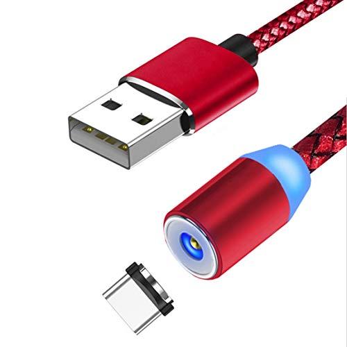 Cable de carga magnético,cable trenzado giratorio de 360°Cable de carga,cargador magnético trenzado de nailon para teléfonos inteligentes Micro Usb-Type-C Rojo