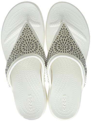 crocs Damen Monterey Diamante Wedge Flip Zehentrenner, Beige (Oyster/Champagne 174), 42/43 EU
