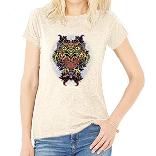 Del Sol Camiseta de Novio para Mujer, diseño de búho, Camiseta de Brezo Natural, Cambia de Negro a Colores Vibrantes, 90% algodón Peinado, Jersey Fino, 10% poliéster, Talla M