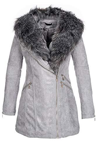 Elara Damen Jacke Parka Mantel Grau Chunkyrayan 2V246 Grey-42 (XL/4)