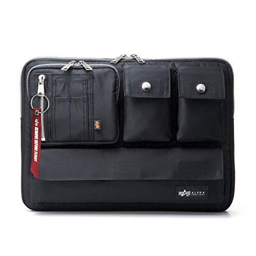 サンワダイレクト ノートパソコンケース 13.3インチ A4対応 撥水加工 多ポケット 取っ手付き ALPHA INDUSTRIES ブラック 200-IN048BK