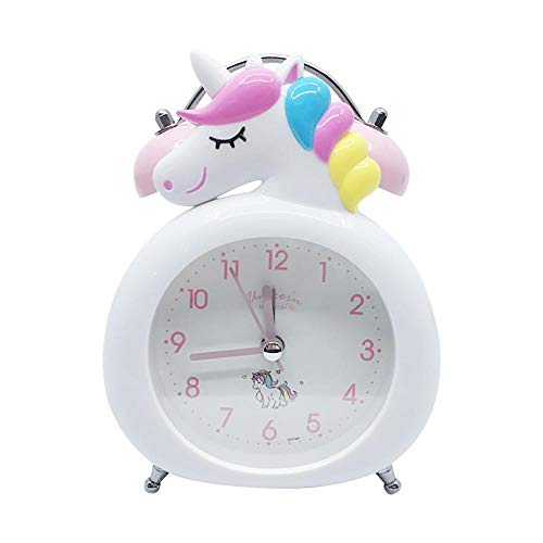 FPRW Double Bell wekker, schattig Unicorn Clock Kids Cartoon wekker, slaapkamer Bell Clock Nachtlampje Tafel Wake Up Clock, Wit