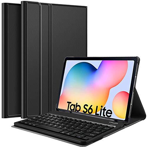 IVSO Tastatur Hülle für Samsung Galaxy Tab S6 lite, [QWERTZ Deutsches], Ultradünn Ständer Schutzhülle mit abnehmbar Wireless Tastatur für Samsung Galaxy Tab S6 lite 10.4 Zoll 2020, Schwarz