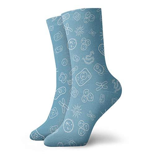 ZVEZVI Viele Bakterien und Viren unter dem Mikroskop Klassiker Kompressionsstrümpfe Sport Athletic 30 cm lange Crew-Socken für Männer Frauen
