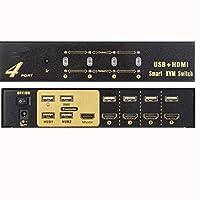 HDMIスイッチ4ポート4入力1出力USB KVMスイッチモニターキーボードマウスを共有する複数のコンピュータ4ポートスマートHDMI KVMスイッチ