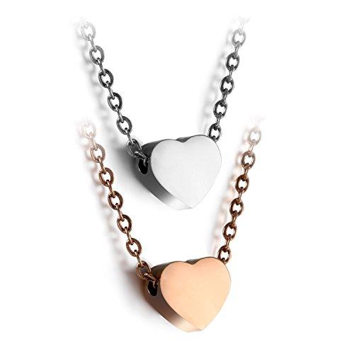 JewelryWe Schmuck 2pcs Damen Kette mit Herz Anhänger | Edelstahl Halskette Modeschmuck Frauen Mädchen nickelfrei Silber Rosegold