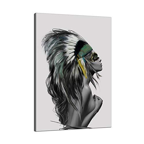 VIIVEI Beauty Art - Lienzo decorativo para pared, diseño de niña india nativa americana, lista para colgar