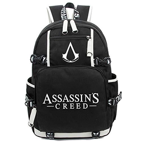 Augyue leuchtende Schulranzen Daypack Book Bag Laptop Tasche Rucksack für Assassin's Creed Cosplay schwarz 1 X-Large
