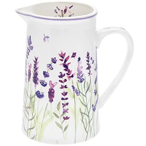 The Leonardo Collection LP94061 Pichet en porcelaine fine orné d'un motif à fleurs de lavande dans des tons de violet, blanc et vert, 12 x 9 x 14 cm