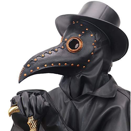 NECHARI Steampunk Plague Doctor Bird Beak Mask Plague DR Halloween Costume Masquerade Masks (Black & Copper)