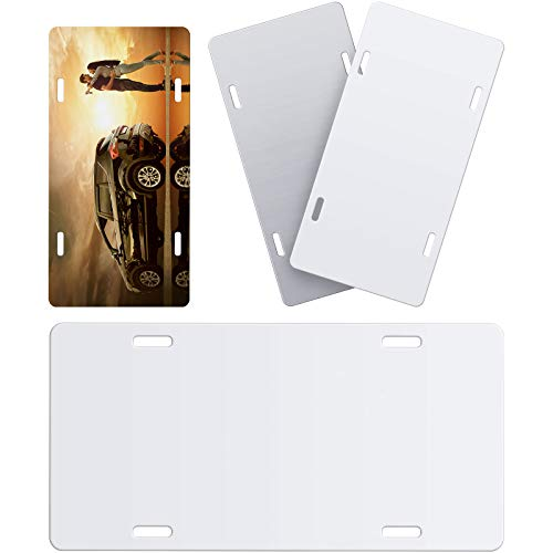 4 Pieces Sublimation License Plate Blanks, Metal Aluminium Automotive License Plate, Heat Thermal Transfer Sheet DIY Picture Sublimation Blanks for Custom Design Work, White