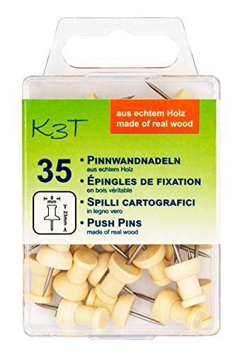 K3T Pinnwandnadeln aus Holz, 35er Packung