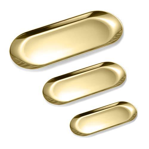 Yemiany Bandeja de almacenamiento ovalada de 3 piezas,bandeja de servicio de acero inoxidable,placa de almacenamiento para baño,armarios,cómodas para sujetar toallas,alimentos,frutas,joyas(oro)