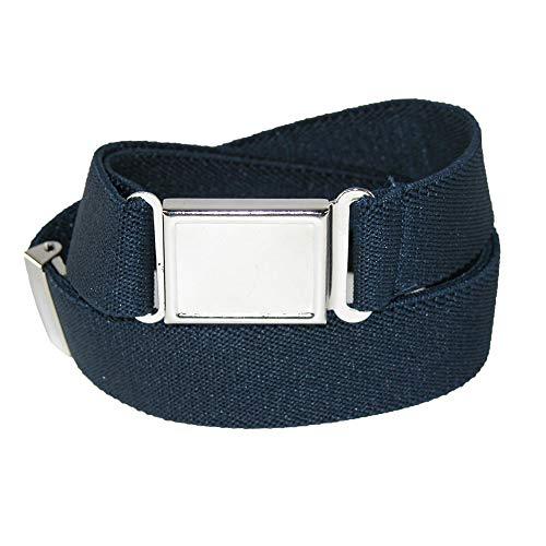 CTM Kids' Adjustable Elastic Belt with Magnetic Buckle, Navy