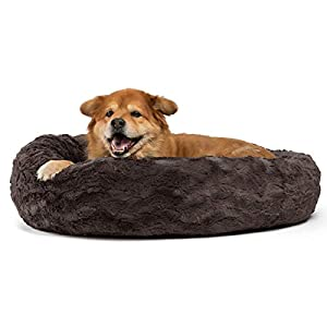 Best Friends by Sheri The Original Calming Donut Cat and Dog Bed in Lux Fur, Machine Washable, Orthopedic Relief, for Pets up to 45 lbs. – Medium 30″X30″ in Mink