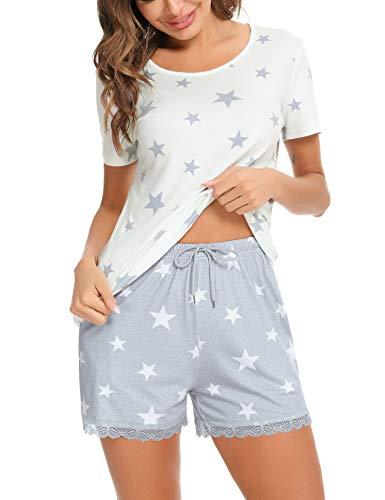 Irevial Pijamas de Mujer de Verano algodón Manga Corta Conjunto de Pijama de Estrellas Pantalon Corta 2 Piezas Fresco y cómodo,Blanco,s