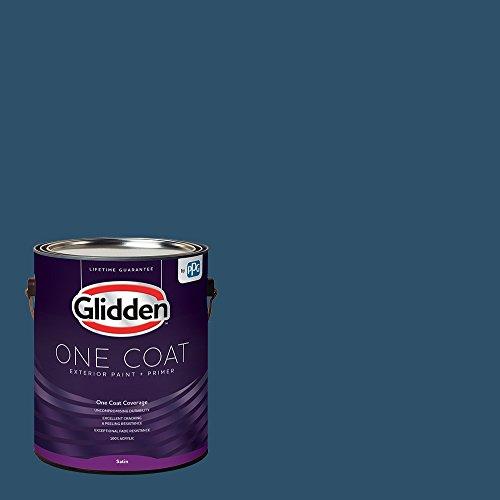 Glidden Exterior Paint + Primer: Blue/Blue Lava, One Coat, Satin, 1-Gallon