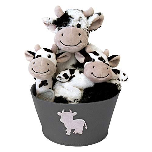 Trend Lab Cow - Juego de 4 Cubos de Peluche