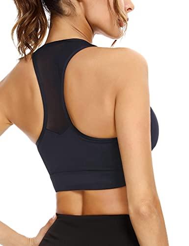 Sykooria Sujetador Deportivo Mujer, Yoga Bra Deportivo con Almohadillas Extraíbles Sujetadores Sin Costuras Sin Aros Transpirable Sostenes Deportivos de Mujer para Correr Yoga Fitness