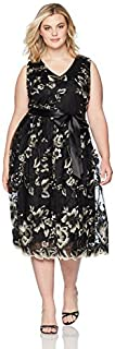 S.L. Fashions Women's Size Ebmroidered Lace Tea Length Dress Plus