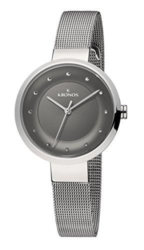 KRONOS - Ladies Black 997.8.52 - Reloj de señora de Cuarzo, Brazalete de Acero, Color Esfera: Gris