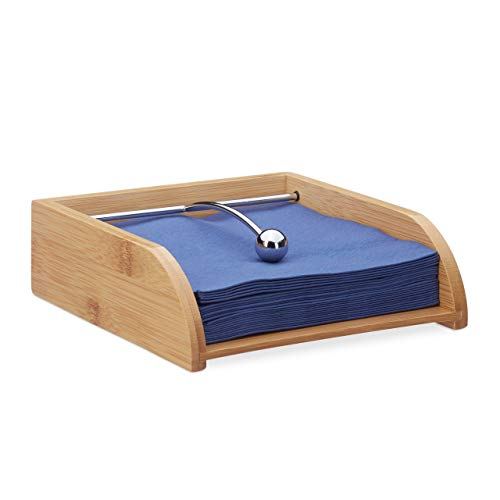 Relaxdays Portatovaglioli in bambù, per Salviette da 33x33 cm, con Ferma Tovaglioli, Piatto, da Tavola, Legno Naturale