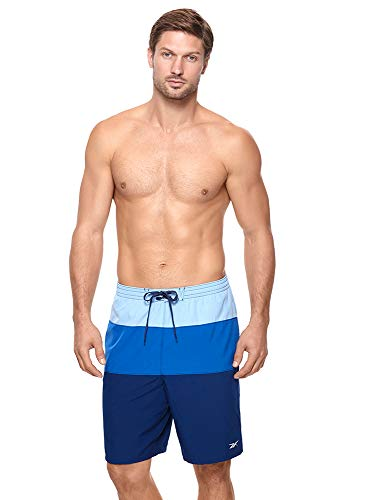 Reebok Men's Swimwear UPF 50 Colorblock Volley Elastic Waist Swim Shorts Bathing Suit Trunks, Fluid Blue, XL