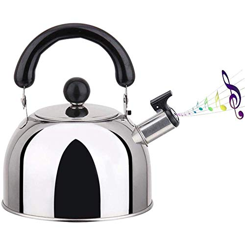 WEIZI Whistling Whistling Tea Kettle Stainless Steel teapot with Ergonomic Handle 2L 3L 4L Classic Large Teapot for All Heat Sources Whistle Type Brushed Tea Kettle 3L