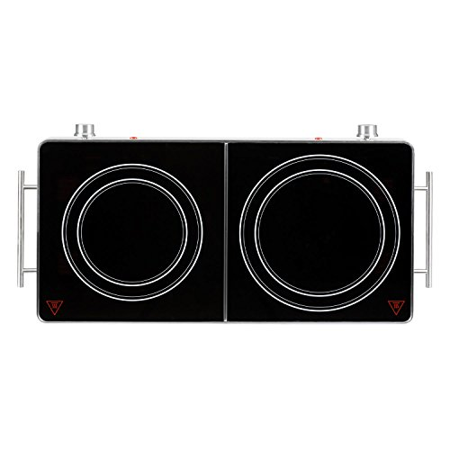 Klarstein VariCook Duo - Dual Hob, Dual Infrared Hotplate, 3000 Watts, Aluminium Body, Overheating Protection, Handles, 20cm and 16.5cm Hotplates, Scratch-Resistant, Silver