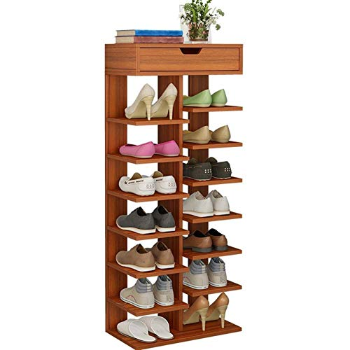 LIPENLI Bastidores de zapatos de gran capacidad a prueba de agua zapato Estante de doble hilera Gabinete de almacenamiento de ahorro de espacio Fácil Ensamble (Color: madera de sándalo antigua, tamaño