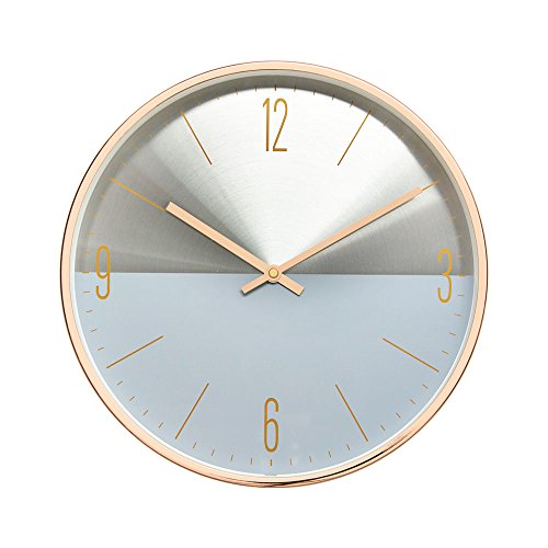 """Arospa luxury modern 12"""" two toned metal design silent non-ticking wall clock with rose gold frame (slate blue)"""