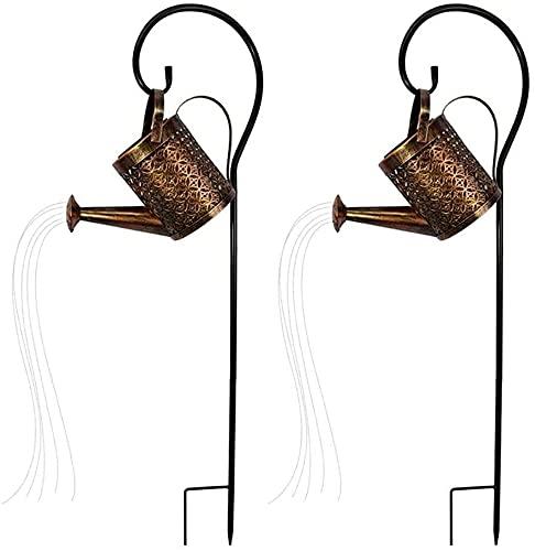 LIUDADA 2 Stück Gartenlampen LED Gießkanne Gartengießkanne Lichter Solar Licht Solarlampen für Außen Lichterketten für Outdoor Garten Party Hochzeit(Mit Ständer)