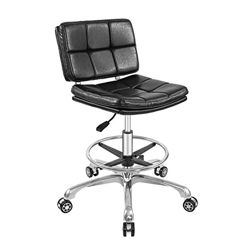 Drafting Chair Tall Office Chair for Standing Desk Adjustable Stools with Backrest & Foot Rest,Pneumatic Lifting Height,Rolling Wheels,for Studio,Dental,Home,Office,Salon and Counter(Black)
