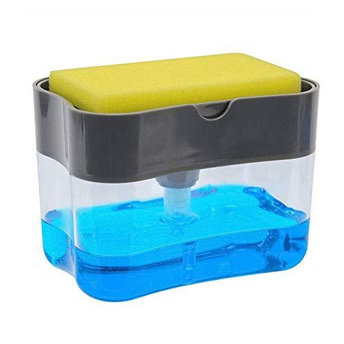 Dqianyu Dispensador de Bomba de jabón con Soporte de Esponja Contenedor de dispensador de líquido 2 en 1 Manual Presione Organizador de jabón Herramienta de Limpieza de Cocina-Light_Grey