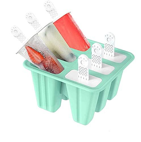 6 Eisformen Silikon EIS am Stiel Formen, EIS Selbst Machen Behälter, BPA Frei, Stieleisformer Wiederverwendbar (Grün)