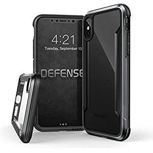 iPhone X Case, X-Doria Defense Shield Series, Military Grade Drop Tested, Anodized Aluminum, TPU, Polycarbonate Protective Case for Apple iPhone X - Black