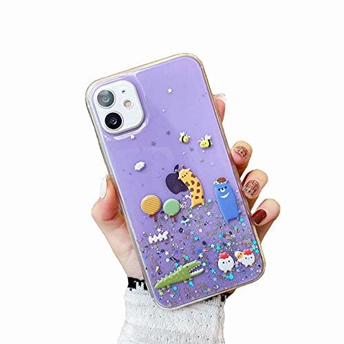 Miagon Crystal Glitzer Hülle für Samsung Galaxy S9 Plus,Süß Bling Klar Handyhülle Durchsichtig Sparkle Sterne Case Cover Slim Dünn Schutzhülle,Wald Tier Lila