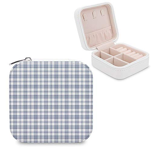 Small Jewellery Box, Mini Size Travel Jewelry Storage Case with Faux PU Lidded Light Weight, Rings,Earring,Necklace Organiser with Various Compartments/Tartan Blue Textile Font Tints and Shades