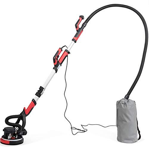 COSTWAY Trockenbauschleifer, Deckenschleifer Staubsammelsystem, Wandschleifmaschine 750W / Ø225mm / inkl. 6 Schleifscheiben/LED-Licht / 900-1800 U/min (Rot)