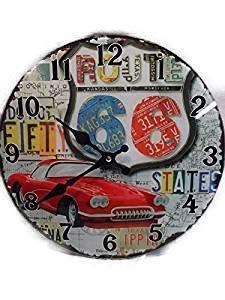 Route 66 Uhr 30 cm Amerika USA Wanduhr Glas Clock Oldtimer Motel Car GIT 401 D