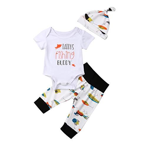 Geagodelia 3tlg Babykleidung Set Baby Jungen Kleidung Outfit Body Strampler + Hose + Mütze Neugeborene Kleinkinder Weiche Babyset Tier (6-12 Monate, Fisch (Weiß 937 - Kurzarm))