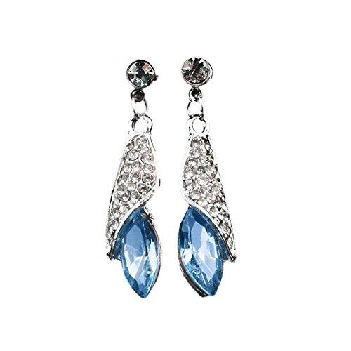 Ouneed® 2pcs Cristal Pandente Longue Boucle d'Oreille 4 * 1.1CM (Bleu clair)