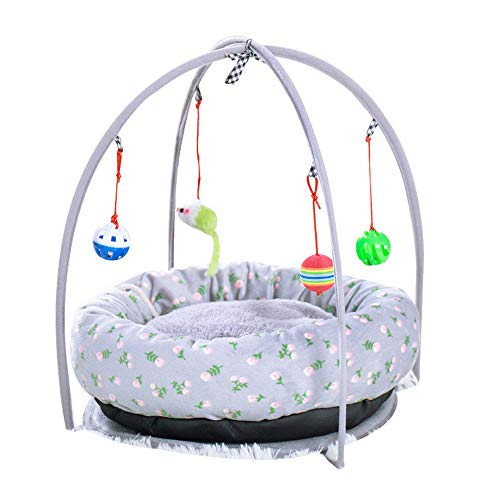JIAJU Cat Toy Pet Nest, Universal for Four Seasons, Can Hang Cat Toy Ball, The Best Cat Bed Tent Kitten Pad Pet Supplies, Cat Movement and Keep Active, Gray