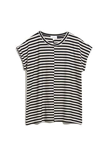 ARMEDANGELS JAARIN Knitted Stripe - Damen T-Shirt aus Bio-Baumwoll Mix M Kitt-Black Shirts T-Shirt Rundhals Loose fit