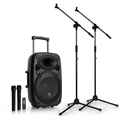 auna Streetstar 12 mobile PA-Anlage PA Lautsprecher Box (2 x klappbares Mikrofon-Stativ - 12