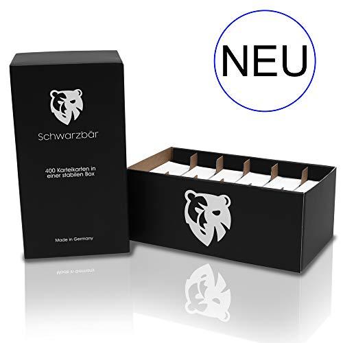 Schwarzbär *NEU* - 400 linierte Karteikarten Lernbox - Der robuste Karteikasten überzeugt durch integrierte Fächer und hochwertige Qualität - Made in Germany - DIN A8-7,4 x 5,2cm