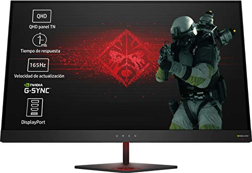 HP OMEN 27 - Monitor gaming de 27 pulgadas G-sync + altura ajustable (QHD, 1ms, 165 Hz, Nvidia G-Sync, 2560 x 1440 pixeles), color negro