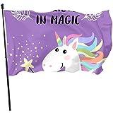 Haus Hof Flagge,Feiertage Flags,Hauptflagge,Garten Banner,Gartenflaggen,3'X5',Süße Karikatur Einhorn Kind Und Baby Mädchen Flagge Dekor Dekorative Haus Fahne Pole